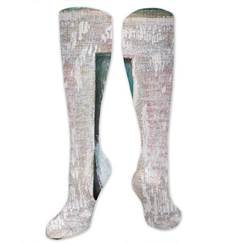 Alphabet Ton (Unisex Highly Elastic Comfortable Knee High Length Tube Socks,Pastel Toned I Letter In Abstract Design Modern Soft Tones Alphabet Scheme Colors,Compression Socks Boost Stamina,Multicolor)