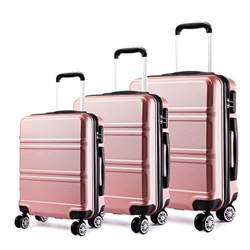 Kono Juego Set 3 Maletas Trolley Rígida ABS Equipajes de Viaje...