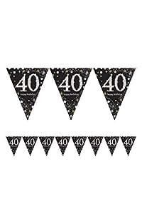 Amscan 1x * HAPPY BIRTHDAY BANNER * zur Dekoration auf dem 40. Geburtstag // Wimpelkette Bunting Celebration Pennant