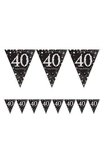1x * HAPPY BIRTHDAY BANNER * zur Dekoration auf dem 40. Geburtstag // Wimpelkette Bunting Celebration Pennant