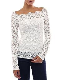 Moonuy Femme Sexy T-shirt Floral en Manches Longues Elégant Tops Blouses  Shirt Off Épaules dbd27336944c