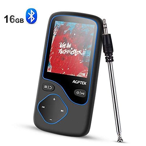 4.0 Bluetooth MP3 Player, 16GB Musik Player, 1,8 Zoll Bildschirm, unterstützt 128GB Micro SD Speicherkarte, FM Radio, Aufnahme,von AGPTEK C5M, Schwarz