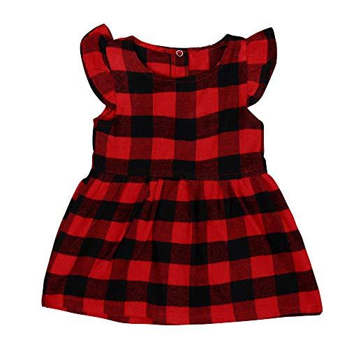 (CUTUDE Kleinkind Baby Mädchen Kleid Plaid Gestreift Kleider Kurzarm Tutu Urlaub Prinzessin Outfit Kleidung)