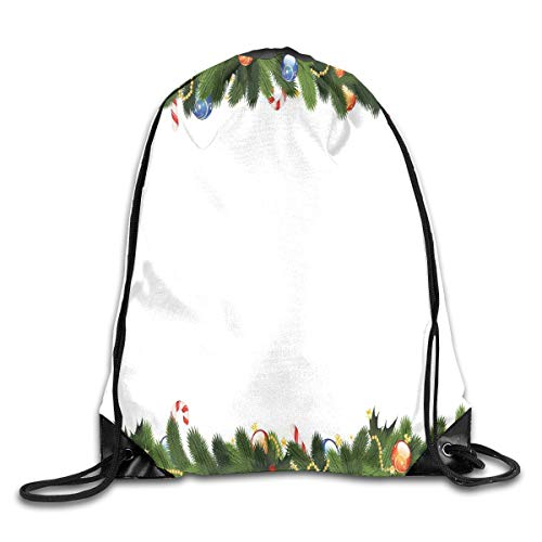 GONIESA Fashion New Drawstring Backpacks Bags Daypacks,Fir Tree Branches with Christmas Theme Candy Canes Baubles Festive Winter Holiday,5 Liter Capacity Adjustable for Sport Gym Traveling