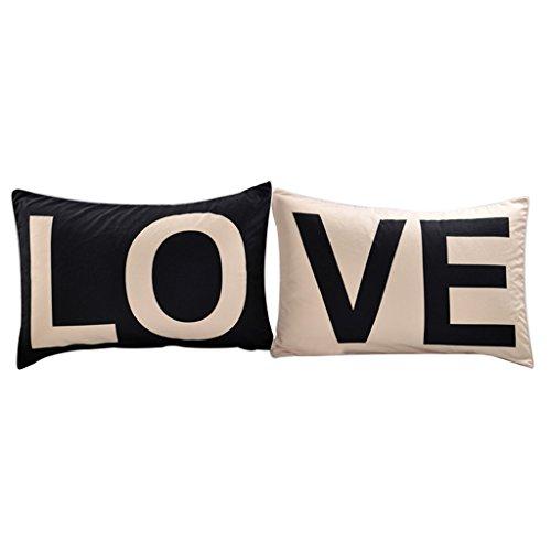 Homyl 2Pieces Pillow Cases Luxury Case Camera da Letto in Poliestere Coppia Copri Cuscino Queen King Size - Regalo di San per Matrimoni - Love, 50cmx90cm
