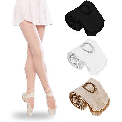 Tubwair Damen Ballett-Strumpfhose, Damen, Mädchen, Basic, Cabriolet, Übergang Ballett-Tanzstrumpfhose, nahtlos, Größe L, Weiß - 9