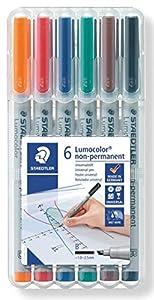 STAEDTLER 312WP6 - Lumocolor Plumas en Aufstellbox película, Soluble en Agua, 6 Pins, Espesor, B Importado de Alemania
