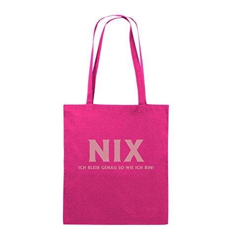 Comedy Bags - NIX ICH BLEIB GENAU SO - Jutebeutel - lange Henkel - 38x42cm - Farbe: Schwarz / Silber Pink / Rosa