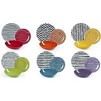 Excelsa Crazy Line - Vajilla de 18 piezas, porcelana y cerámica, multicolor