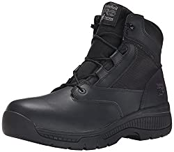 Timberland PRO Mens 6 Inch Valor Soft Toe Side Zip Work Boot Black Smooth Leather Ballistic Nylon 11 D(M) US