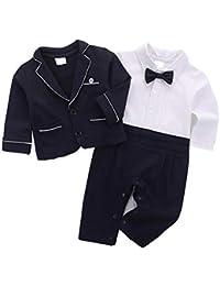 Newborn Baby Boy Gentleman Tuxedo Suit Long Sleeve Bowtie Formal Jumpsuit  Overall 2Pc Set a48ad59c5