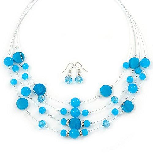 Luce blu Shell galleggiante, Cristallo e orecchini a goccia e collana Set-52cm L/5cm Ext