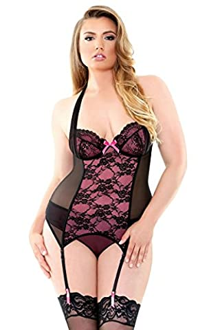 Fantasy Lingerie Curve X-Large/2X-Large Fuchsia/Black Gigi Halter Underwire Bustier and Panty Set for Women