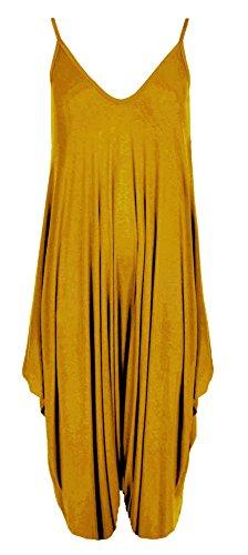 Re Tech UK - Damen Jumpsuit im Haremslook - lockere Passform - Spaghettiträger - Senfgelb - 40-42
