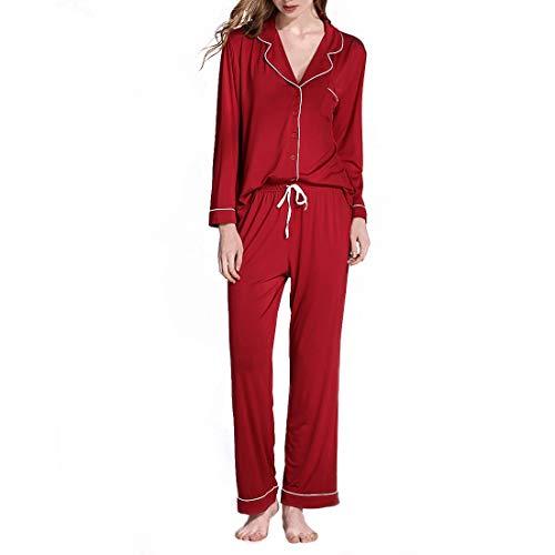 FELICIOO Frauen weichen Nachtwäsche Langarm Stricken Pyjama Set mit Hosen Modal V-Ausschnitt Pyjama Set Plus Größe (Color : Rose red, Size : XL)