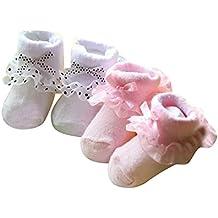 ElecMotive 2 Paar Babysocken Baumwolle Erstlingssöckchen Mädchen Taufesocken Mädchensocken Schuhe 0-6 Monate Rosa + Weiß