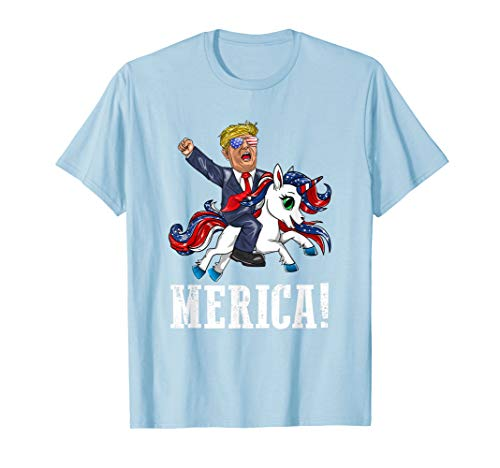 Merica Flaggen-Sonnenbrille Unicorn Trump America First  T-Shirt