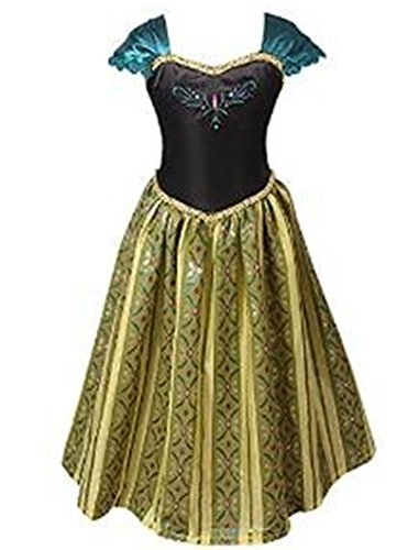 ELSA & ANNA® Mädchen Prinzessin Kleid Verrücktes Kleid Partei Kostüm Outfit DE-FBA-ANNA1 (5-6 Jahre - Size Code 30, DE-ANNA1) (Anna Kostüm Damen)