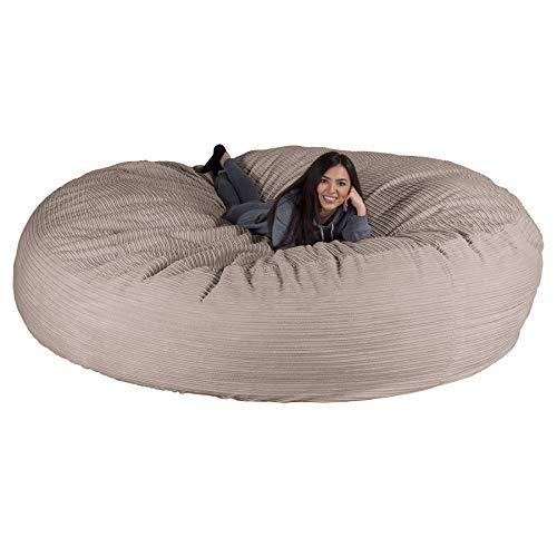 Lounge Pug, Riesen Sitzsack XXXXL Sofa C2000-L, CloudSac Latexflocken-Mischung, Schlafsofa, Cord Nerzfarben