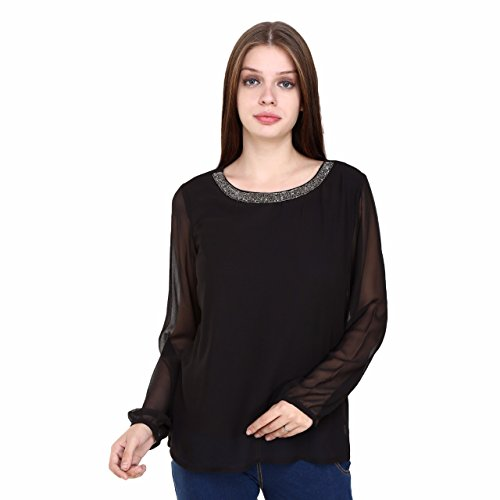 RALAH FAME Women Stylish Black Georgette Top With Inner Lining, Beaded Embroidery At Neck_XL