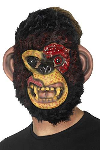 Smiffys Herren Zombie Schimpansen Maske mit Fell, One Size, Schwarz, - Zombie Schimpanse Für Erwachsene Kostüm