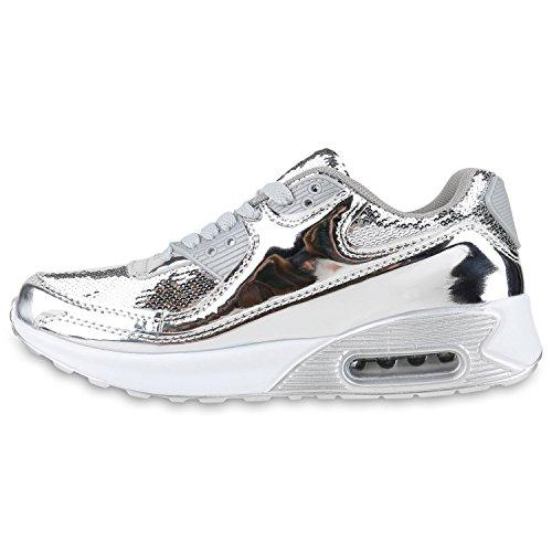Damen Herren Unisex Sportschuhe Neon Runners Laufschuhe Sneakers Silber