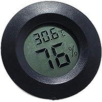 LAAT Termómetro Higrómetro Digital Redondo Sensor de Humedad del Monitor Pantalla de LCD para Caja Reptil Tortuga Lagarto Size 45 cm (Negro)