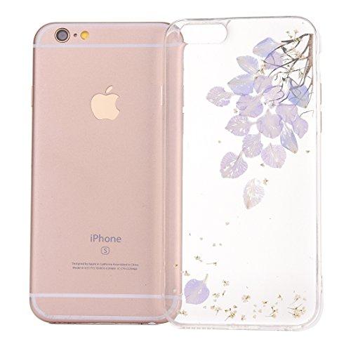 MXNET Case für iPhone 6 & 6s Epoxy Dripping gepresste echte getrocknete Blume weiche transparente TPU Schutzhülle ,Iphone 6/6s Case ( SKU : Ip6g2996a ) Ip6g2996e