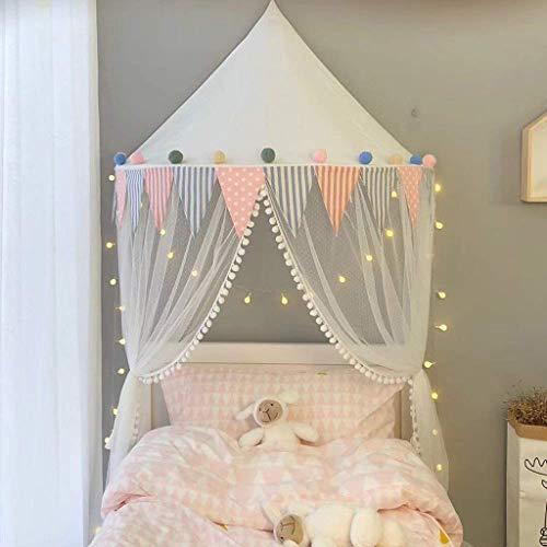 Baldacchino per letto con zanzariera per bambino tenda per letto zanzariera decorazione camera bambino e adulto, tenda kids princess play zanzariera in cotone appesa, bianca