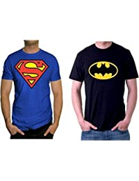 Dryon Men's Superman And Batman Logo Printed Cotton Round Neck Half Sleeve T-Shirt (Blue And Black)