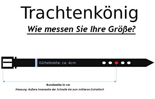 Trachtenkönig Trachtengürtel Original Herren zur Lederhose mit Edelweiss (85 cm, Dunkelbraun (Vollrindleder))_TK01_01_85 - 5
