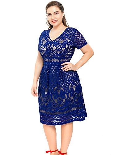 Chicwe Damen Gefüttert Vollfigur Dekorative Blumenspitze Große Größen Skater Kleid 1X-4X Blau
