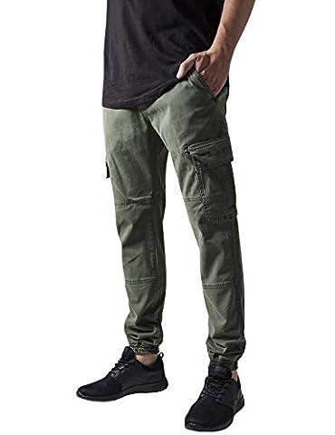 Urban Classics Herren und Jungen Cargohose Washed Cargo Twill Jogging Pants, Rangerhose mit aufgesetzten Seitentaschen, olive, Größe