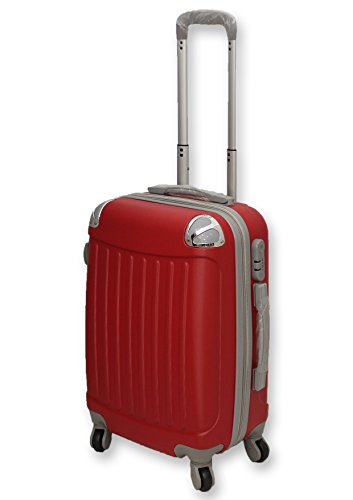 TROLLEY VALIGIA BAGAGLIO A MANO ABS CABINA RYANAIR EASY JET 4 RUOTE LOW COST NUOVO 2017 (ROSSO)