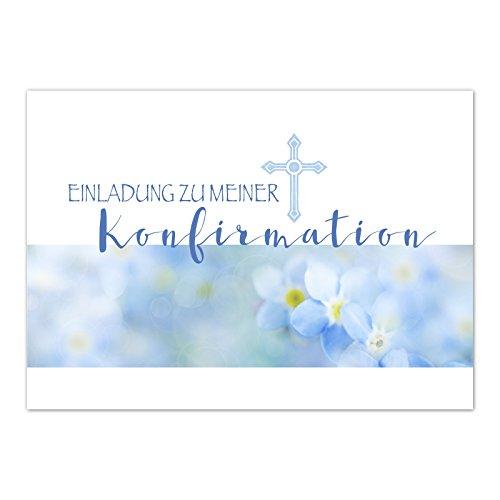 15 x Einladungskarten zur Konfirmation mit Umschlägen / Vergiss mein nicht, blau / Konfirmationskarten / Einladungen zur Feier