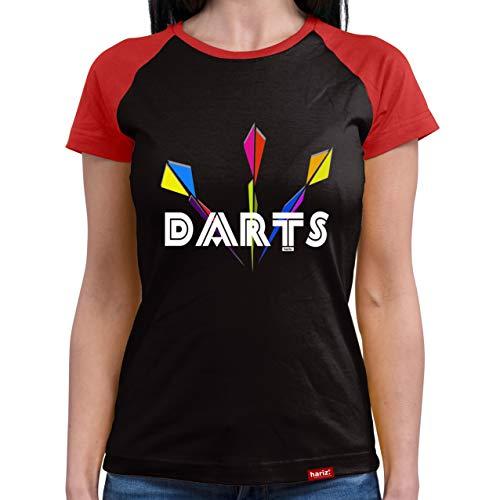 HARIZ  Damen Baseball Shirt Darts Dartpfeile Dart Sprüche Dartscheibe Sport Fun Trikot Plus Geschenkkarten Black/Red S