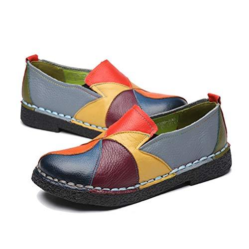 Frauen Low Heels Mokassins FrüHling Sommer Runde Kappe Schuhe Casual Rindsleder Mischfarben Patchwork Slip On Loafers Low Heel Slip