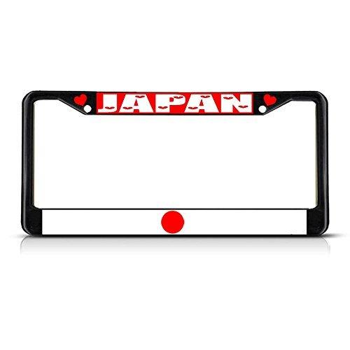 Preisvergleich Produktbild Nummernschild Rahmen Japan Land Flagge Metall schwarz Nummernschild Rahmen Tag Halter
