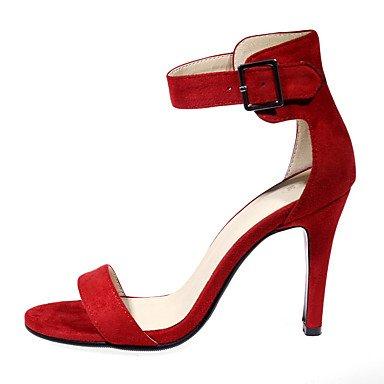 LvYuan Femme Sandales Similicuir Printemps Eté Automne Boucle Talon Aiguille Noir Rouge Amande 7,5 à 9,5 cm ruby