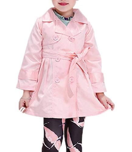 YiyiLai YiyiLai Einfärbig Herbst Sommer Kind Mädchen Langarm Blazer Outwear Jacke Mantel Trenchcoat Mit Gürtel Pink 110