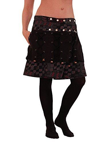 Leucht-Welten süßer Wickelrock aus Baumwolle, mit Tasche, Modell Nr. 6, schwarz
