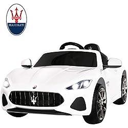 Uenjoy Maserati 12V Voiture Electrique pour Enfants avec Télécommande, MP3, lumière (Blanc)