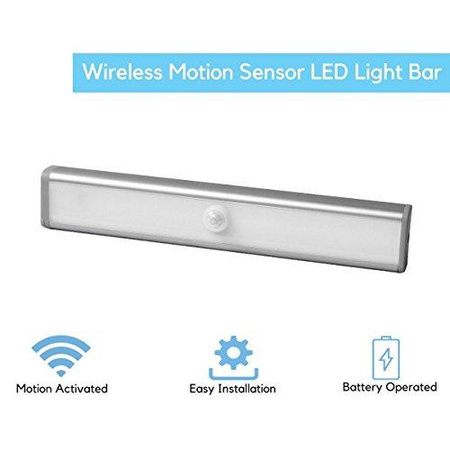 Minerava Battery Operated LED Motion Sensing Light with PIR Sensor for Wardrobe (Silver)