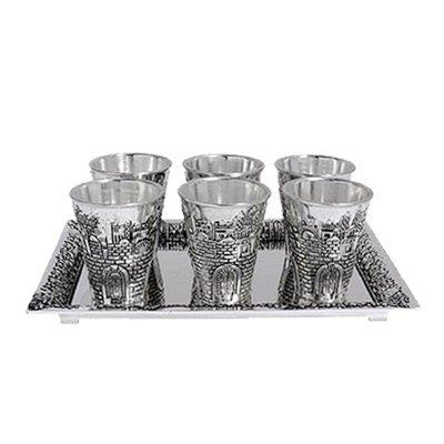 Legacy Jerusalem Shot Glass Kiddush Cup Set With Tray -
