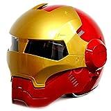 wthfwm Casque Iron Man pour Homme Marvel Casque Anti-Collision Avengers pour Adulte Casque Route pour Adulte, Casque Off Road,Red-L