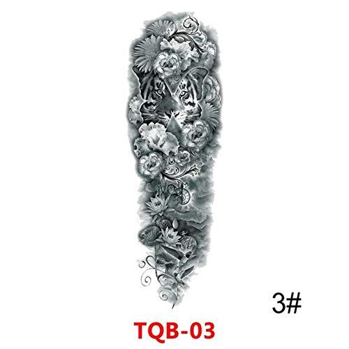 Zhaohh big arm sleeve tattoo maori power totem impermeabile autoadesivo del tatuaggio temporaneo warrior samurai angel man black tattoo, c