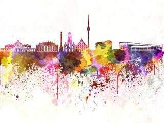 """Poster-Bild 70 x 50 cm: """"Stuttgart skyline in watercolor background"""", Bild auf Poster"""