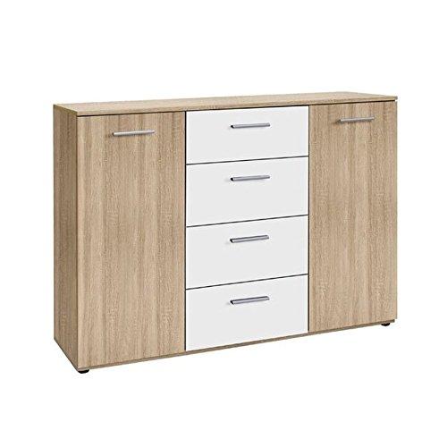 Schlafzimmer - Kommode Abuko 02, Farbe: Sonoma Eiche / Weiß - Abmessungen: 91 x 130 x 38 cm (H x B x T)