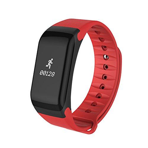 Jiameng smartwatches - monitoraggio della frequenza cardiaca del pedometro di sport dell'orologio astuto di bluetooth 4.0 di f1 per lo smartphone anello smart watch bluetooth