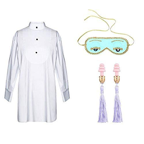 Holly Kostüm - Audrey Hepburn Frühstück bei Tiffany der komplette Schlaf Set Holly Golightly Kostüm Schlafmaske, Ohrstöpsel und Smoking Schlaf Shirt (Medium, ohne Geschenkbox)